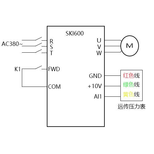 SK600变频器恒压供水(远传压力表)视频指导