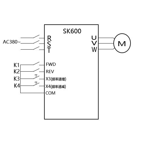 SK600三科变频器外部启动UP DOWN调速视频指导